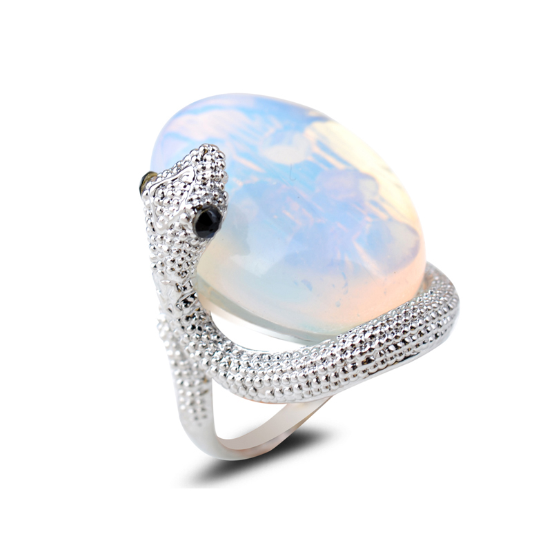 Sparkling Oval Large Opal Stone Snake Rings Natural Precious Stone Platinum Plating Finger Rings For Male