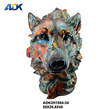 Factory Custom Resin Wall Wolf Animal Head Sculpture