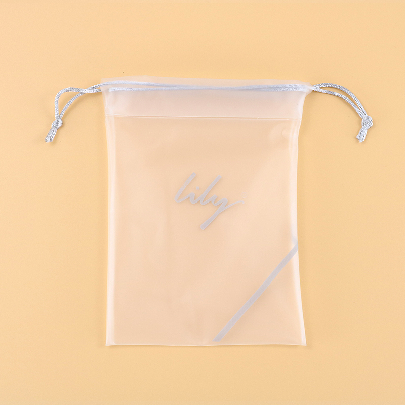 Custom made daily use reusable recyclable transparent clear pvc drawstring bag