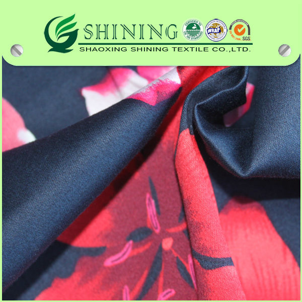 Fashion Elegance Red Flower Asian Print Satin Fabric Printed Spandex Satin Fabric