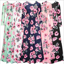 Dropshipping China Suppliers Wholesale Private Label Floral Long Sleeve Women Maxi Dress