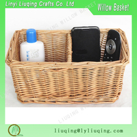 Small natural rectangular Cosmetic basket gift basket /Rattan basket with compartment/ Wicker baskets with dividers