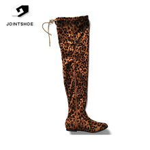 China shoe factory sexy leopard print overknee boots for women