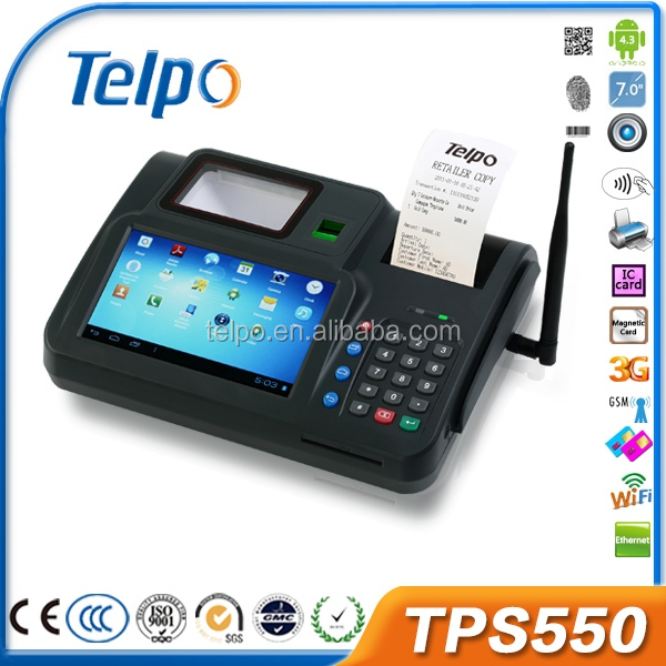 Telpo 7 inch android tablet a370 android pos device TPS550
