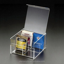 Acrylic Tea Bag Holder with flip up lid, Clear 4 Compact Tea Bag Organizer Storage box