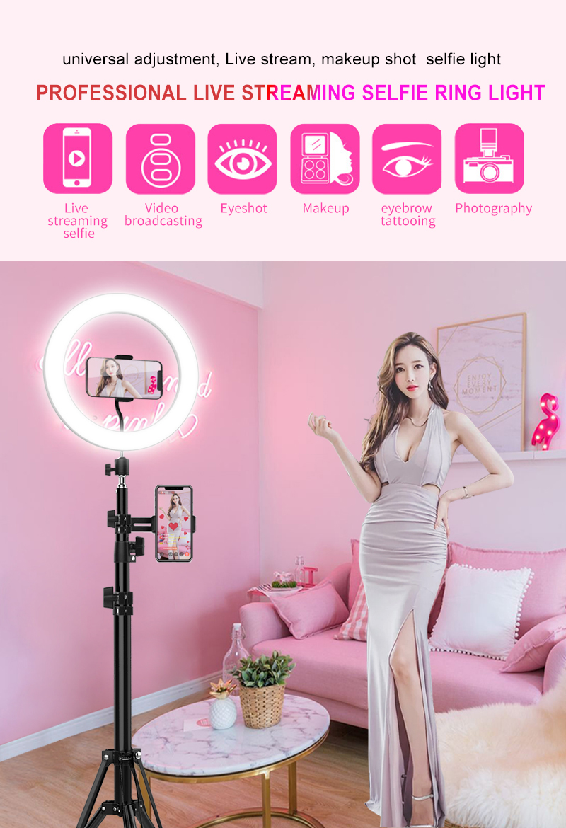 "5"" - 18 inch Selfie Ring Light with Cell Phone Holder Lazy tripod stand LED ring Light for Live Stream"