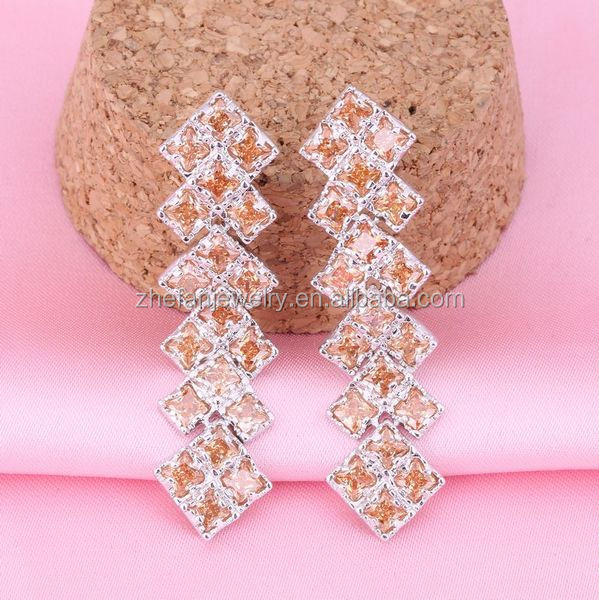 15 yeasr jewelry factory 925 sterling silver CZ fashion small hanging earrings for women