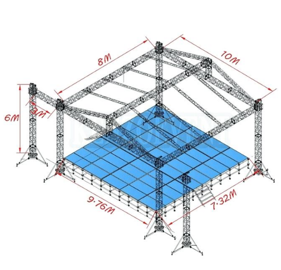 10x8x6m outdoor event roof with <strong>stage</strong> design