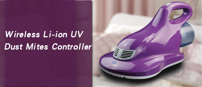 Wireless/Cordless UV bed Li-ion battery HEPA filter purple dust mite controller home use