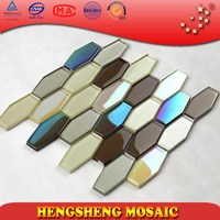 HCL05 smooth color mixed interior decoration glass hexagon mosaic tile