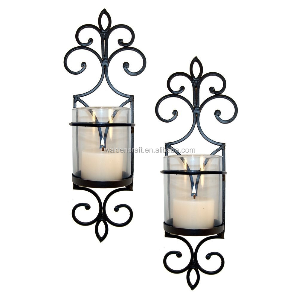 Iron Crafts Home Decorative Hanging Tea Light Candle Holders Set of 2