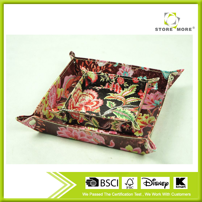 Flower Printed Leather Catchall Change Key Wallet Coin Folding Storage Tray