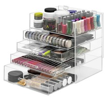 Acrylic Cosmetic Makeup Display Organizer, 5 tier lucite Lipstick, nail polish and brush stand holder with a top tray