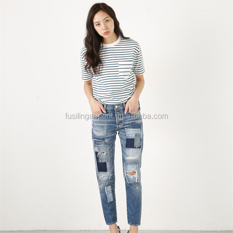 Nine Points Jeans For Women Distressed Jeans Ripped Stone Washed Denim Casual Pants with Hole Patchwork