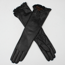 Classic black elbow length gloves / long women gloves /long opera leather gloves