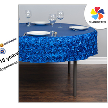 Royal Blue Satin Rose Embroidery Table Cloth