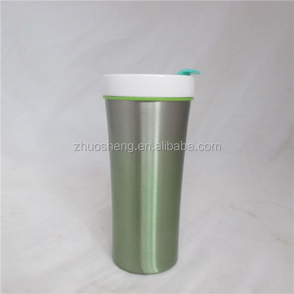 2015 new style promotional paintable ceramic coffee mug with PP lid, coffee mug with unique handle
