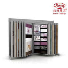 FY0117 Rotating Page Turning Exibition Stand Ceramic Tile Metal Display Shelves