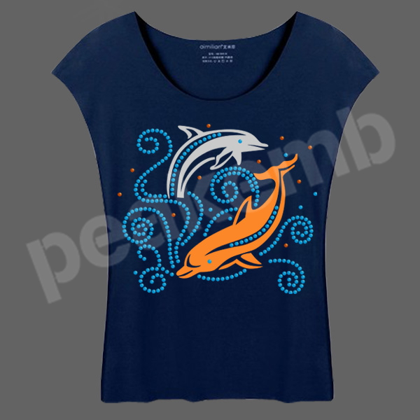 Cheap Rhinestone Transfers PU Heat Dolphin Transfer Vinyl