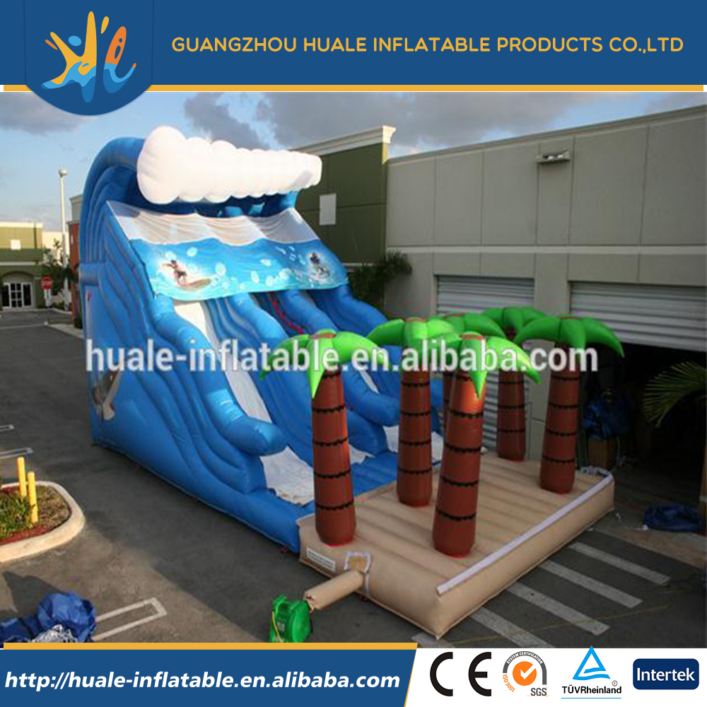 Giant ocean inflatable wave slide inflatable double lane slide with palm tree beach