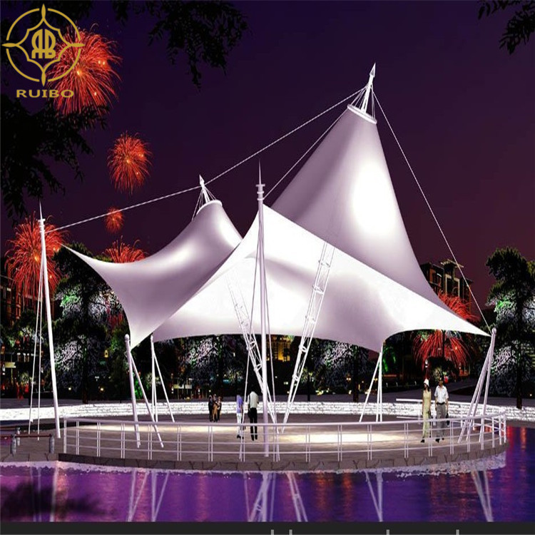 Commercial Steel Cable Tensile Fabric Membrane Umbrella Structure