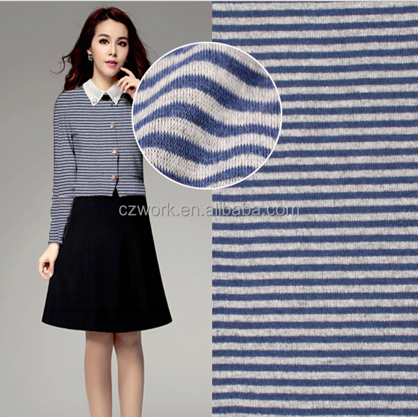Blue white stripe 360gsm 70m MOQ selling fall winter fabric for coat