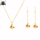 RIR Stainless Steel 18K Gold Plated Cowire Shell Necklace,Women Papua Shell Necklace with Earrings,Women Shell Jewelry Sets