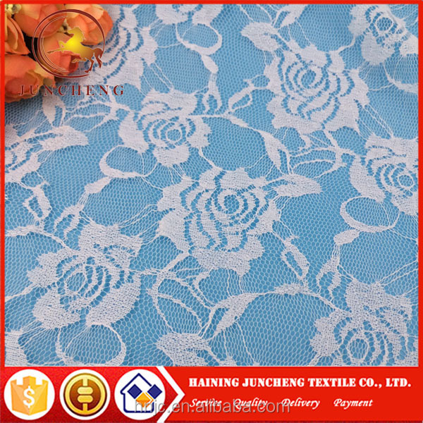Hot sale good quality floral design white stretch lace fabric for garments