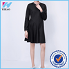 Yihao Fashion Women Casual Long Sleeve solid simple O-neck Mini Dress New long sleeves casual latest designs woman winter dress