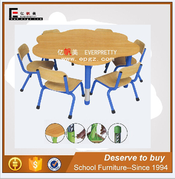 kids durable wooden table with chair, daycare classroom table furniture set