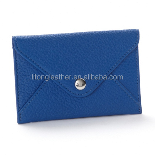 Blue leather envelope card case,leather envelope card holder,envelope card holder