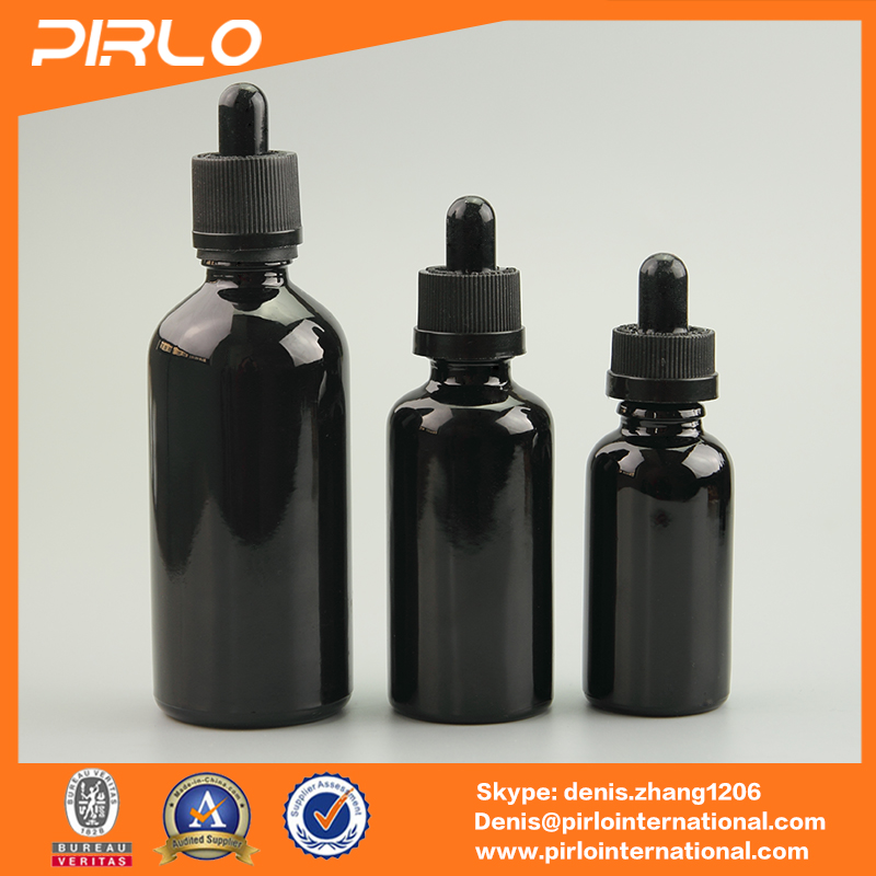 20ml empty black colored 18/400 children resistant tamper evident droppers bottles for e-liquid