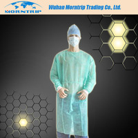 disposable nonwoven isolation gown with elastic cuff,neck and waist with tie
