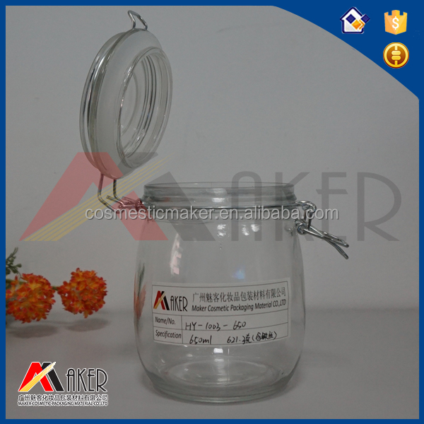 650ml Food grade empty food packaging glass jars with cap
