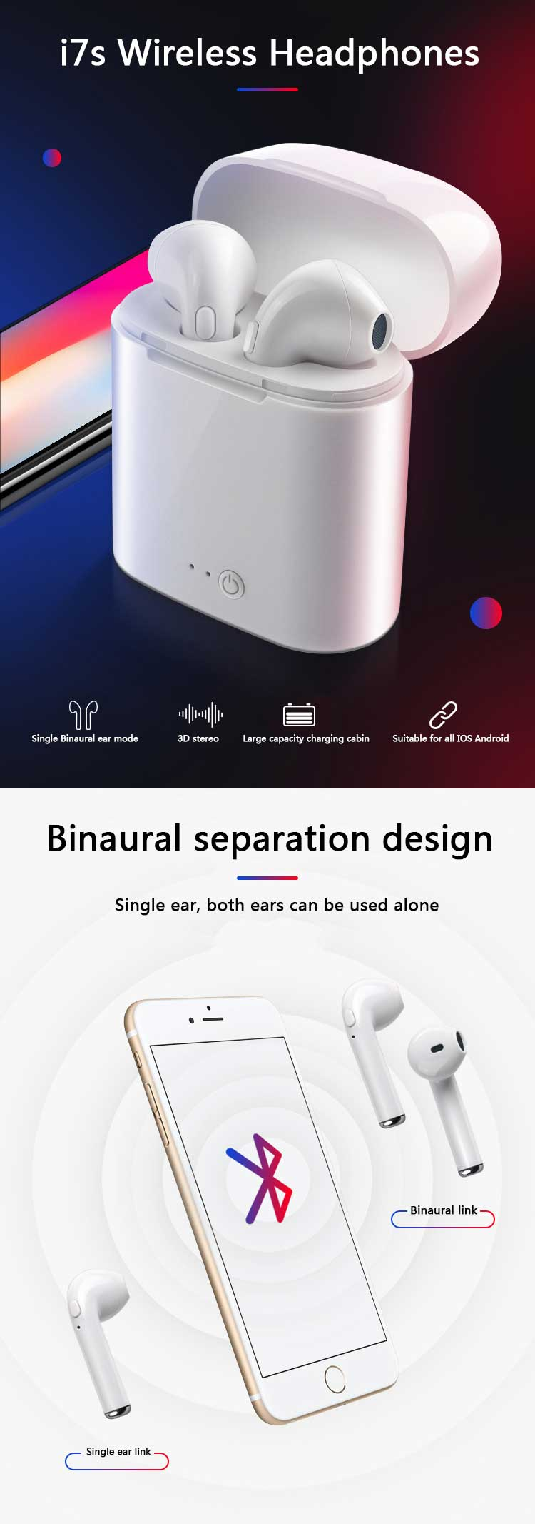 Free Sample with Custom Logo  i7s  TWS Headphone In Ear Wireless Earphone with Charging Box