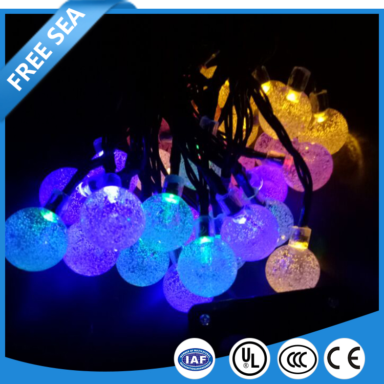RGB led solar string Christmas holiday time outdoor light with solar panel