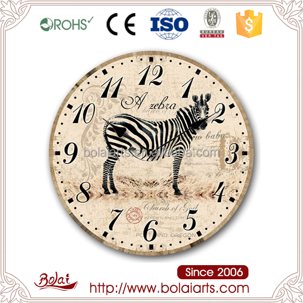 Lovely zebra printing do old round shape crafts animal clock in China