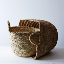 Handwoven Round Large Storage Seagrass Straw Moroccan Basket