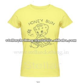 100% cotton Printed Ladies T-shirt - Honey - Yellow