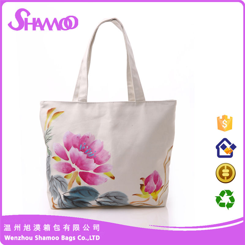 OEM Service Promotional Printed Sling Drawstring Shopping Tote Custom Cotton Canvas Bag