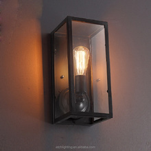 European Antique Industrial Garden Aisle Corridor Lamp Glass Box Iron Art Waterproof Wall Lamp Lights