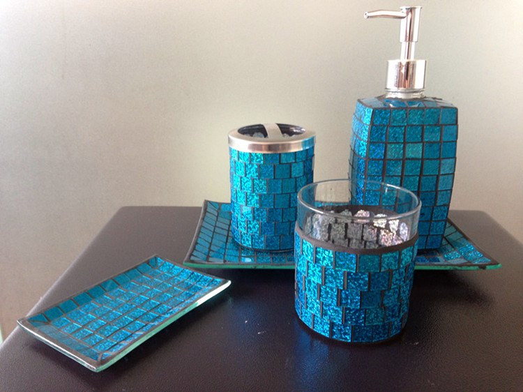 Pearl mosaic crackle glass bathroom accessory set buy for Mosaic bath accessories