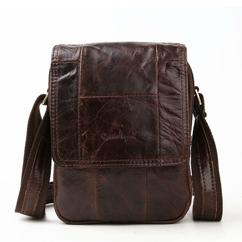 Vintage Casual Fashion Men Messenger Bags Top Brand Quality 100% Natural Cowhide Genuine Leather Dark Brown Patchwork Bolsas Sac