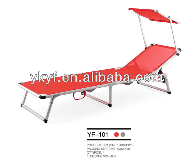 outdoor furniture metal foldable sun lounge with canopy