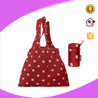 Red folding bag with small zipper bag, 420D polyester punch shopping tote bag with printing