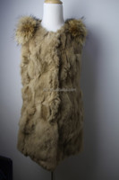 Nice Quality Rabbit Fur Vest With Raccoon Fur On Shouder 2015 New Hip Fur Vest