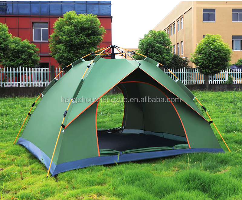 Hot Sale Automatic Account Open 3-4 Person Waterproof Fiberglass Pole Easy Folding Camping Tent, CZB-0026B Family Tent