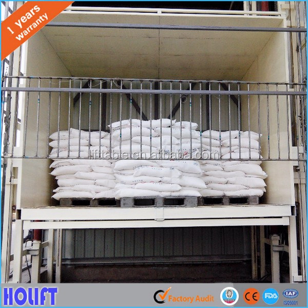 Outdoor and indoor vertical rail freight elevator platform hydraulic warehouse freight lift price