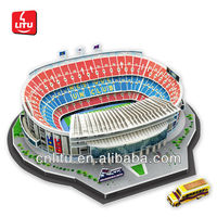 9113 3D Barcelona Football Stadium Puzzle European paper Model soccer football educational game toys