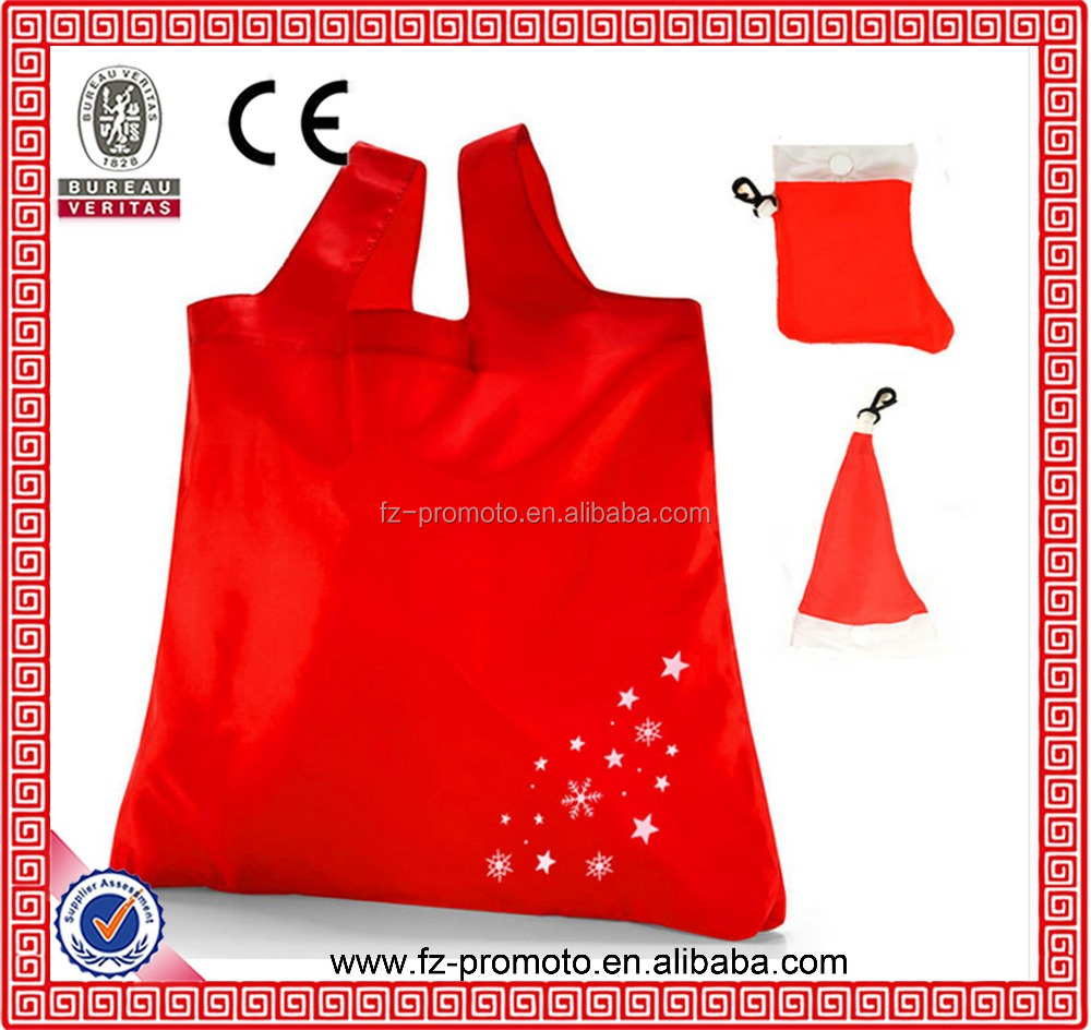 Hat shape foldable bags children loves Stocking shape folding polyester bags for Christmas day